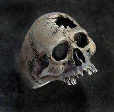 Skull Ring,Half Jaw, Mens Silver Skull Ring, Biker ring, Rocker ring, Goth ring, Custom Sterling Silver Skull Ring,.925