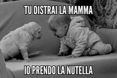 You distract mom and I'll take the Nutella. Tú distraes a mamá y yo tomo la nutella.