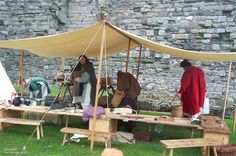 encampment tables and benches Viking Life, Medieval Life, 8 Person Tent, Tent Camping, Glamping, First Time Camping, Canvas Tent, Camping Supplies, Tiny Spaces