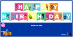 """nouveau freebie sur le thème des adorables Trolls de DreamWorks : une banderole """"Happy Birthday"""" d'autres petits cadeaux arriveront dans les jours prochains : imprimables pour fêt…"""