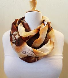 Chiffon loop scarf BROWN BEIGE patterned  by OriginalDesignsByAR, $14.00