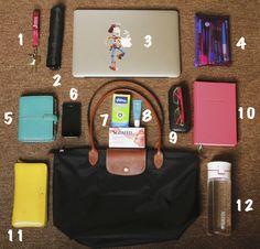 bag contents, filofax, glasses, handbags, le pliage, longchamp, organization, wallet, water bottle, whats in my bag, handbag,