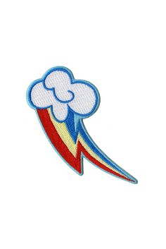 Iron-on patch with Rainbow Dash's cutie mark.