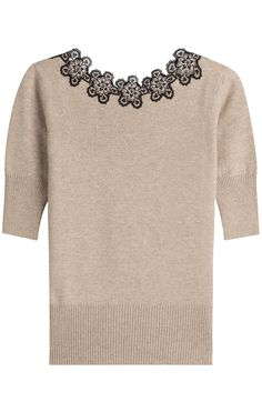 Wool Blend Knit Top with Lace detail 0
