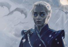"(@art.of.ice.and.fire): ""What if Daenerys becomes a White Walker? - artwork by @enyamahuta ° ° ° #daenerystargaryen…"""