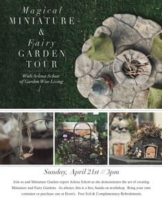Join us and Miniature Garden expert Arlena Schott as she demonstrates the art of creating Miniature and Fairy Gardens.  As always, this is a free, hands-on workshop.  Bring your own   container or purchase one at Hoen's.  Free Soil & Complimentary Refreshments. Register Online or call 419.865.9276
