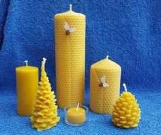 Bienenwachskerzen kaufen - Wabenkerzen - Weihnachtsbäume Pillar Candles, Honey Bees, Taper Candles, Candles