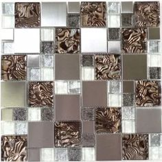 Oyster Brown Unique Shapes Glass and Metal Glossy Tile
