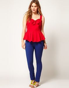 Image 4 of ASOS CURVE Peplum Top With Bow