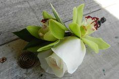 Green Cymbidium Orchid & White Rose Boutonniere.