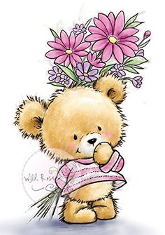 Wild Rose Studio Clear Stamp - Teddy With Flowers now available at The Rubber Buggy Art D'ours, Illustrator, Tampons Transparents, Tatty Teddy, Cute Teddy Bears, Bear Art, Cute Illustration, Clear Stamps, Cute Cartoon