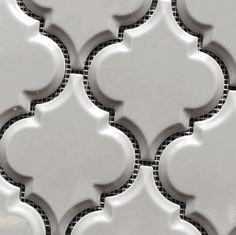 Arabesque Vento Gray Beveled Gloss on a Mesh Mosaic Tile