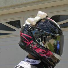 "LuckyYogi Helmet bow in ""opal"" repped by @myfit_funlyfe #luckyyogihelmetbows #handmade #helmetbow #helmetbows #bikerchick #shoei #womenwhoride"
