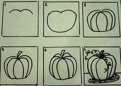 Drawing and painting pumpkins