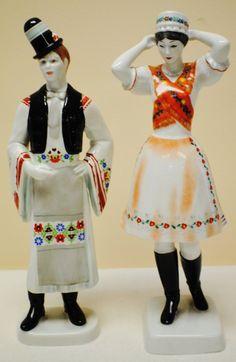 Hollohaza Porcelain Figures Kara, Hungary, Temple, Harajuku, Folk, Retro, Sweet, Beautiful, Dresses