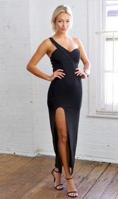Sexy One Shoulder Sleeveless Thigh Spilt Black Polyester A Line Ankle Length Dress