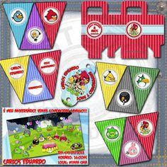 Kit Festa Infantil Angry Birds - 01, composto por:  -  Convite (10x15cm) - Enfeite Personalizado para Canudinho (5,5x7cm) - Caixa de Guloseimas Personalizada (8,5cm L x 4cm P x10cm A) - 9 Bandeirolas com Personagens (19x12,5cm) - 3 Bandeirolas Personalizadas (19x12,5cm)  Dê um visual totalmente personalizado para a festa dos seus filhos. Tudo personalizado de acordo com o seu gosto.  Arte Digital para ser impressa em gráfica ou em casa.  A arte é enviada por email ,em arquivo JPG e arquivo…