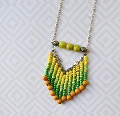Beaded Fringe Necklace in Green and Yellow Chevron by PeachParlor. $18.00, via Etsy.