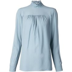 Nº21 Ruffle Collar Blouse ($456) ❤ liked on Polyvore featuring tops, blouses, blue, frill collar blouse, ruffle collar blouse, ruffle collar top, blue blouse and blue top