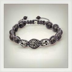 Grey skulls macrame and pave bead bracelet