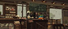 Slow Day at the Café (xpost /r/ImaginarySliceOfLife) How To Pixel Art, Cool Pixel Art, Anime Pixel Art, Pixel Kawaii, Google Backgrounds, Pixel Art Background, Pix Art, Pixel Animation, Cafe Art