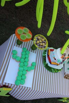 Cupcake cactus at a mining birthday party! See more party planning ideas at CatchMyParty.com!