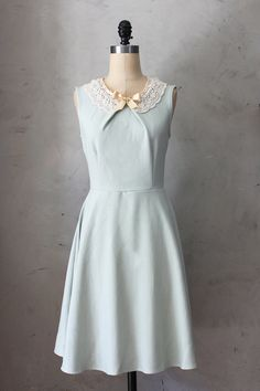 PRIM IN SAGE  Soft mint green vintage inspired by FleetCollection, $68.00 - with a belt from Atelier Signature.