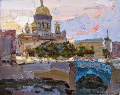 Select Sold Works: Daniil Volkov - All Rushing Home Urban Landscape, Abstract Landscape, Landscape Paintings, Abstract Art, Landscapes, Russian Painting, Russian Art, Building Art, Impressionist Paintings