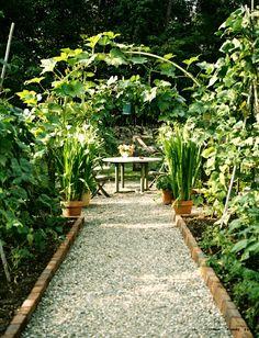Garden path -- gravel with brick edging