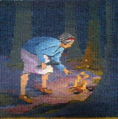 Sarah Swett, Diana's Fire, hand woven tapestry, wool, natural dye, 9 x 9 inches. One of my favorites. I love the firelight.