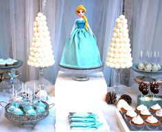 Elsa cake at a Frozen birthday party! See more party planning ideas at CatchMyParty.com!