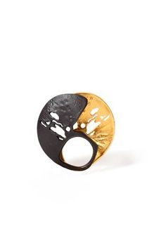 "Tsimpiskaki Maria -   ""Ithaki"" Chevalier,  bronze, black patina, fine gold plated bronze. Two opposite rings! www.tsimpiskakimaria.com"