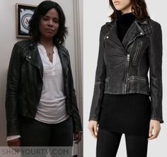 "Shots Fired: Season 1 Episode 9 Ashe's Black Quilted Leather Jacket | Shop Your TV Ashe Akino (Sanaa Lathan) wears this black quilted shoulder leather jacket in this episode of Shots Fired, ""Hour Nine: Come to Jesus"".  It is the AllSaints Cargo Leather Biker Jacket. Famous In Love, Shots Fired, Sanaa Lathan, Black Quilt, Quilted Leather, New Girl, Season 1, Biker, Leather Jacket"