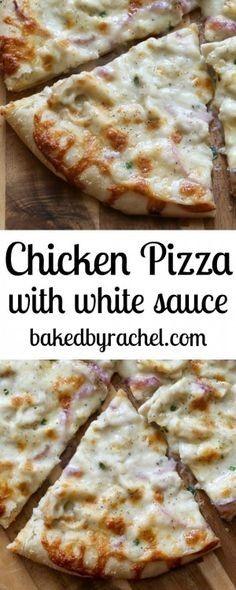 Thin crust three cheese chicken pizza with garlic white sauce recipe from Rachel Baked by Rachel