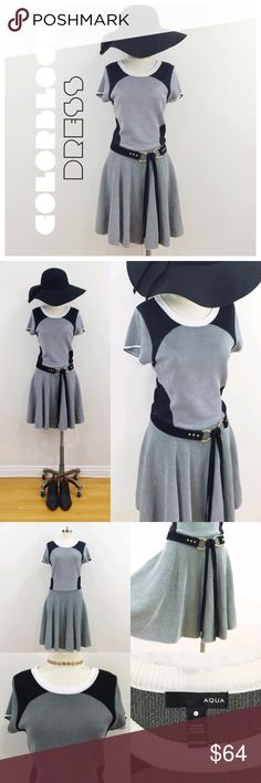 • AQUA • knit grey and black color block dress Very cute fit and flare knitted dress by Aqua.  Has a slight dropped waist (sits at the hips) and has a flared skirt.  The color blocking pattern is also very slimming. Aqua Dresses Mini