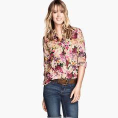 Floral Full Sleeve Polyester Notched Collar With Button Decoration Shirt