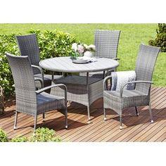 Tyylikäs huoltovapaa setti. STRIB pöytä Ø120cm ja OSLO tuolit #terassi #piha #puutarha