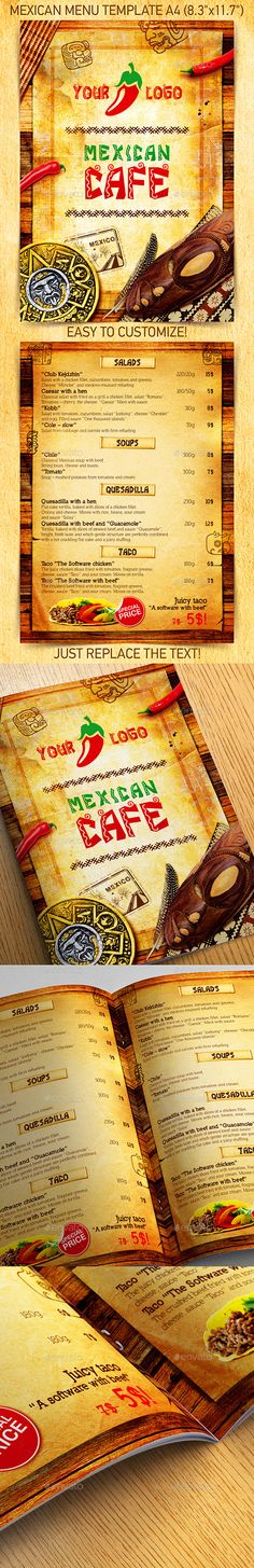 Mexican Restaurant Menu Template | Restaurant menu template, Menu ...