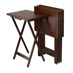 Winsome Wood Single Tv Tables Walnut, Set Of Four On SALE