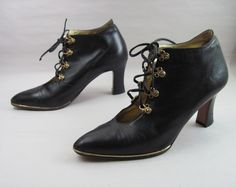 80s Jeweled Black Gold Open Lace Ankle Boots by SketchbookVintage on Etsy #ewp #vintage