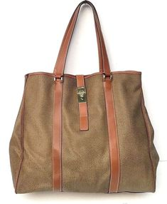 3593457d8f24 BORBONESE COATED CANVAS LEATHER LARGE TOTE SHOULDER BAG HANDBAG  fashion   clothing  shoes  accessories  womensbagshandbags (ebay link)
