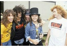 Jeff Young, Slash, Axl Rose, Lars Ulrich, and Dave Mustaine