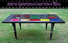 How to Repurpose a Glass Door Into a Colorful Table
