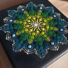 Original Dotart Green Mandala Painting on Canvas, Painting, Office and home ornament decoration Gift Dotilism Dotart Henna Art