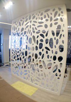 Laser cut metal oak frame partition