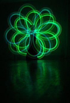 Glow poi spirals