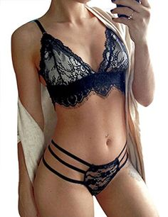 Gogoboi Womens Bridal Lingerie Underwear Lace Halter Hot Bra Bustier Panties Set XL black >>> ** AMAZON BEST BUY **