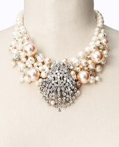 Ann Taylor - Large Pearlized Bead and Crystal Statement Necklace