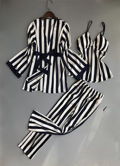The Queen Melanin Sets Blue / L Women Pajamas Sets 3 Pieces Fashion Spaghetti Strap Tops Satin Sleepwear Female Stripes Long Sleeve Summer Home Clothing Pijama Pijama Satin, Satin Pyjama Set, Pajama Set, Pajamas For Teens, Pajamas Women, Satin Sleepwear, Satin Pajamas, Womens Pyjama Sets, Striped Pyjamas