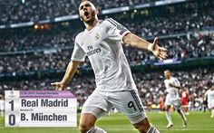 Karim Benzema after scoring against Bayern Munich for the 2014 Champions League semifinals